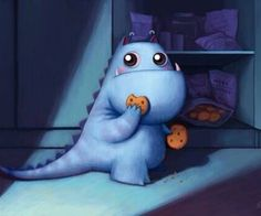 Cute illustration of dinosaur eating cookies Little Monsters, Cute Monsters, Monster Illustration, Cute Illustration, Dragons, Kobold, Cute Creatures, Pics Art, Whimsical Art