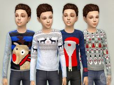 The Sims Resource: Christmas Sweater Boys by lillka • Sims 4 Downloads