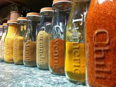 Etched glass spice bottles. Good Frappucino upcycle