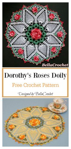 Most up-to-date Absolutely Free dollies Crochet Doilies Thoughts Rose Doily Free Crochet Pattern Crochet Gloves, Thread Crochet, Crochet Crafts, Crochet Projects, Knit Crochet, Irish Crochet, Yarn Crafts, Freeform Crochet, Yarn Projects