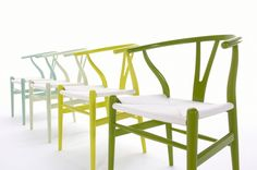 Hans Wegner's Y-Chair (also known as the wishbone chair). Now in awesome colours @ Carl Hansen & Son