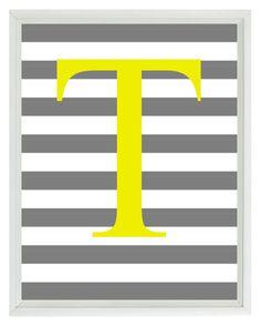 Initial Letter Art Print -  Nursery Children Kid Room Yellow Gray Stripes Personalized  - Wall Art Home Decor 8x10 Print
