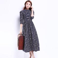 Vestido de linho do Vintage outono, casual verão / mulheres Long metade mangas de impressão Lady vestidos Maxi para a mulher…