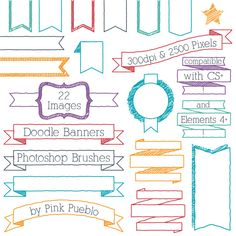 Doodle Banners Photoshop Brushes, Doodle Frame Ribbon Header Photoshop Brush - Commercial and Personal Use. $8.00, via Etsy.