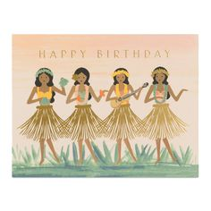 Remind your friend to let loose on their big day with this colorful illustrated birthday card. Features hula dancers in a beautiful tropical setting. This party is for them. Blank inside. Made in the