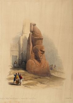 ROBERTS, David and Louis HAGUE. One of the Two Colossal Statues of Rameses II, Entrance to the Temple of Luxor. #egypt
