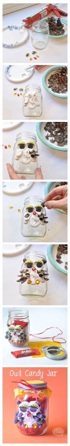 Owl Mason Jar Candy DIY craft