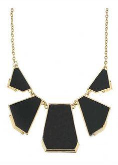 Black Geometric Splice Gold Necklace