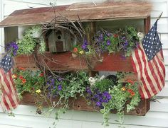 Old Prim Barnwood Garden Planter...with flags.