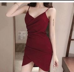 Korean Fashion Dress, Korean Dress, Ulzzang Fashion, Kpop Fashion Outfits, Edgy Outfits, Red Dress Outfit, Bodycon, Looks Chic, Marie