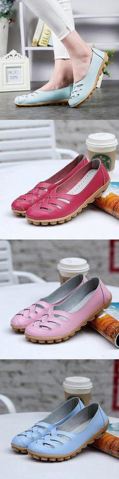 Tendance Chaussures 2017/ 2018 : US$14.78 Big Size Soft Breathable Slip On_ Hollow Out Flat Shoes_Comfortable Fla