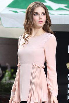 Trendy dacron round neck long sleeves dress