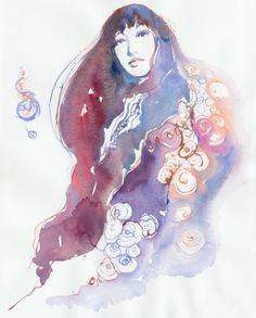 Art, Original Painting, Watercolor Painting Fashion Illustration, Watercolour Flowers. $95.00, via Etsy.