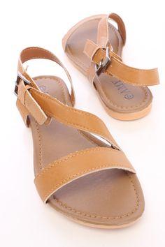 4b9b363640ed Tan Strappy Side Buckle Open Toe Sandals Faux Leather Open Toe Sandals