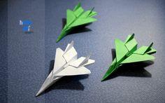 Como hacer un avión F15 de papel.  Origami, paper plane.