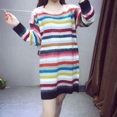 www.sanrense.com - Korea sweet stripes mohair sweater dress