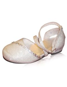 a6fe1e763bc4 Silver Faux Leather Ankle Strap Rubber Sole Flower Girl Shoes - Wedding  Shoes
