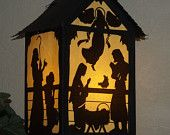 Nativity Paper Lantern for Christmas, SVG and PDF digital cutting files.   Also, suitable for hand crafting.