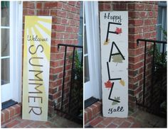 This sign measures approximately 1 x 4 and can be flipped based on the season! Signs are made to order, hand painted, and are distressed to give a rustic look. Signs come with metal saw tooth hanger attached for easy and convenient hanging and is sealed for protection. Turnaround time is fast, about 3-5 business days!  Didnt get exactly what youre looking for? Id love to create a custom listing with you. Send me a message so I can set one up for you