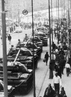September 1968: Soviet T62 main battle tanks line up in the streets of Prague after crushing an uprising, Czechoslovakia. (Photo by Hulton Archive/Getty Images)
