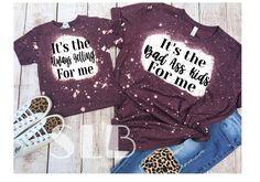 Mom And Me Shirts, Shirts With Sayings, Cute Shirts, Kids Shirts, Bleach Shirt Diy, Diy Shirt, Ty Dye, Cute Shirt Designs, Personalized T Shirts