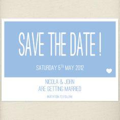 fun pale blue, placid blue, Save the date card, £1.20, #savethedate
