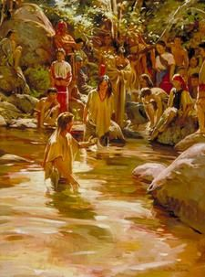 Alma baptizing at the Waters of Mormon by Walter Rane