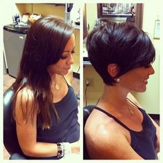 before and after hair, haircut, pixie haircut, short hair, hair makeover - Before & After Pics Pixie Haircut 2014, Short Pixie Haircuts, Pixie Hairstyles, Short Hairstyles For Women, Haircut Short, Bob Haircuts, Double Chin Hairstyles, Stacked Hairstyles, Longer Pixie Haircut