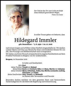 Todesanzeige für Hildegard Immler vom 21.12.2016 - VN Todesanzeigen