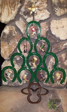 Horseshoe Christmas Tree by LuckyIronWorks on Etsy