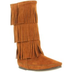 Minnetonka Calf hi layer fringe boot brown suede ($150) ❤ liked on Polyvore
