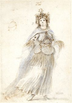 Costume for Thetis by Stefano della Bella. She is wearing a pearl and coral head-dress and a long dress with scallop-shell ornament around the hips.