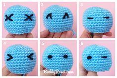 Guía visual para hacer los ojos tejidos de un amigurumi