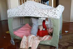 Tutorial: Converting a pack n play into a play tent.  This is great since my pack 'n play is too old to sell!