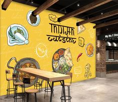 Wall Murals - Wallpaper - U. Delivery Page 25 Small Restaurant Design, Restaurant Themes, Deco Restaurant, Indian Cafe, Mural Cafe, Cafe Concept, 3d Wall Murals, Restaurant Interior Design, Kitchen Wall Art