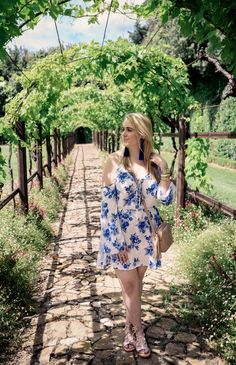 Tuscan Wine Tour - Fancy Things. White floral off the shoulder dress+golden lace up flat sandals+camel crossbody. Summer outfit 2016