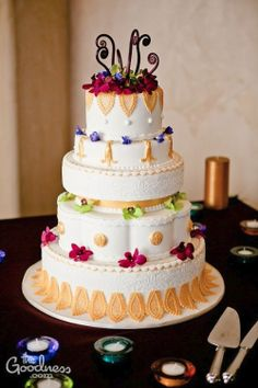 Intricate and colorful wedding cake