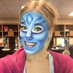 This is my third time doing the makeup on my own.. 2hours later and we have a Na'vi - Cirque Du Soleil - Toruk