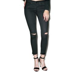 Zoe Distressed Crop Skinny Jeans ($52) ❤ liked on Polyvore featuring jeans, flying monkey jeans, torn skinny jeans, mid-rise jeans, mid rise skinny jeans and ripped skinny jeans