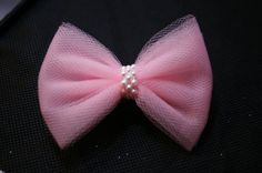 Light Pink or Black Hair Bow with Pearl Center by QuillsNFrills, $2.75