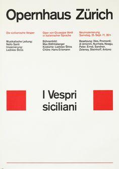 Muller-Brockmann, Josef poster: I Vespri Siciliani (Opernhaus Zurich)