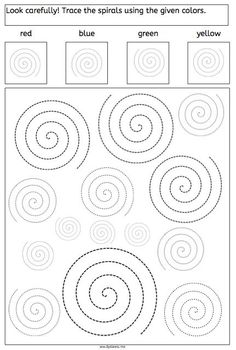 Spirals - Tracing and Recognizing - American Dyslexia Association. Great for visual spatial and pencil control skills.