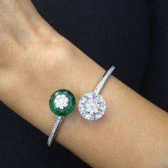 Diamond & Emerald Bangle by La Reina #Bjc #Jewelleryarabia2014