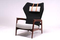Teak fabric lounger by Ib Kofod-Larsen, manufactured by Carlo Gahrn, Denmark 1954