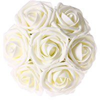 Ling's moment Artificial Flowers 50pcs Ivory Real Looking Artificial Roses for Wedding Bouquets Centerpieces Party Baby Shower Decorations DIY