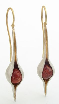 Coral pod earrings, 24KY, 18KY, sterling