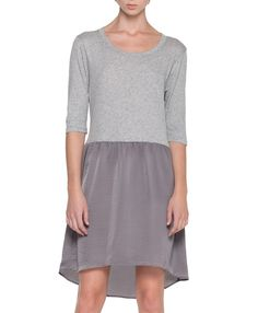 Interesting idea, tshirt on top and rayon or silk, lightweight something on the bottom. Could look good and be comfy, too Fall Dresses, Simple Dresses, Cute Dresses, Casual Dresses, Pretty Outfits, Stylish Outfits, Cute Outfits, Fashion Outfits, Dress Skirt