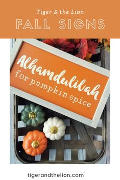 Measures approximately Orange background with very light orange writing and whitewashed frame. Ring in the fall season with this beauty! Rustic Wood Signs, Rustic Decor, Farmhouse Decor, Farmhouse Style, Tobacco Basket Decor, Islamic Wall Decor, Ramadan Gifts, Ramadan Decorations, Diy Kitchen Storage