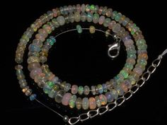 Natural Ethiopian Welo Opal Gemstone Rondelle Plain Beads 65 Ct. Necklace