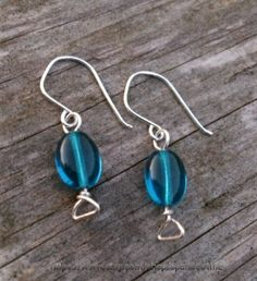 Sea Blue Glass Dangle Earrings by sparkles4life on Etsy, $11.05